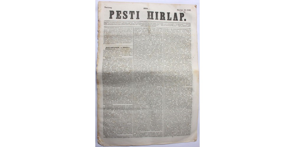 Pesti Hírlap 1843. március 12. szerkeszti: Kossuth Lajos