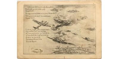 Horthy repülős propaganda verses képeslap