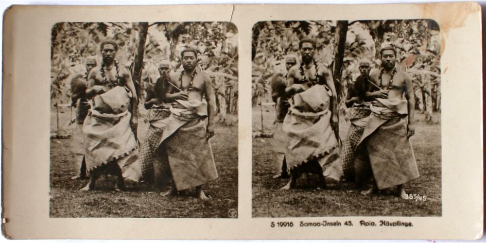 Német Szamoa Szamoai főnökök sztereó fotó 1890 körül R!