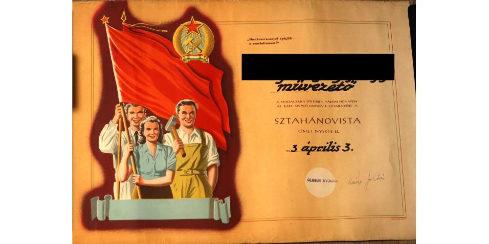 Sztahanovista jelvény adományozó 1953