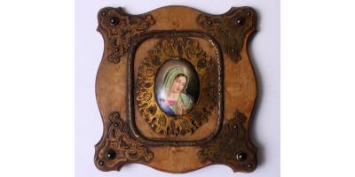 Biedermeier Szűz Mária zománckép eredeti keretben 19. század