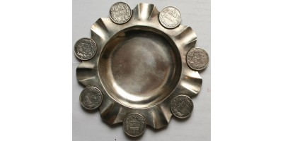 Ferenc József 1 korona ezüst érmes hamutartó