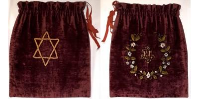 Judaika bájtli tfilin zacskó 1900 körül