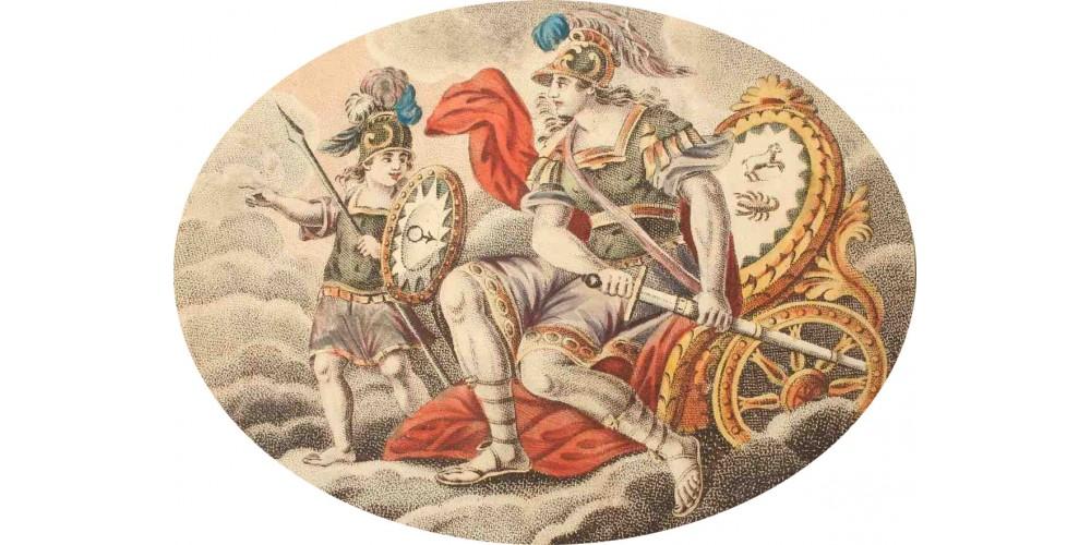 Mars bolygó barokk fali dekoráció / tapéta medallion 18. század R!