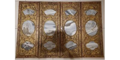 Kína Csing dinasztia márvány berakásos fali panel szet 19. század R!