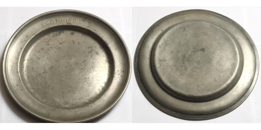 Német ón tányér 17-18. század