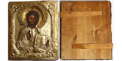 Orosz Pantokrátor ikon okláddal 1900 körül