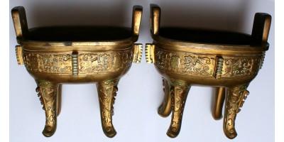 Francia chinoiserie bronz füstölő pár 19. század vége R!