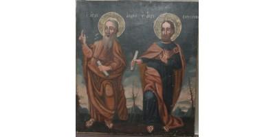 Szerb Szent András és Bertalan apostolok nagyméretű ikon 18. század vége