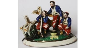 Ottoman Török porcelán katona csoport 1860-1870-es évek