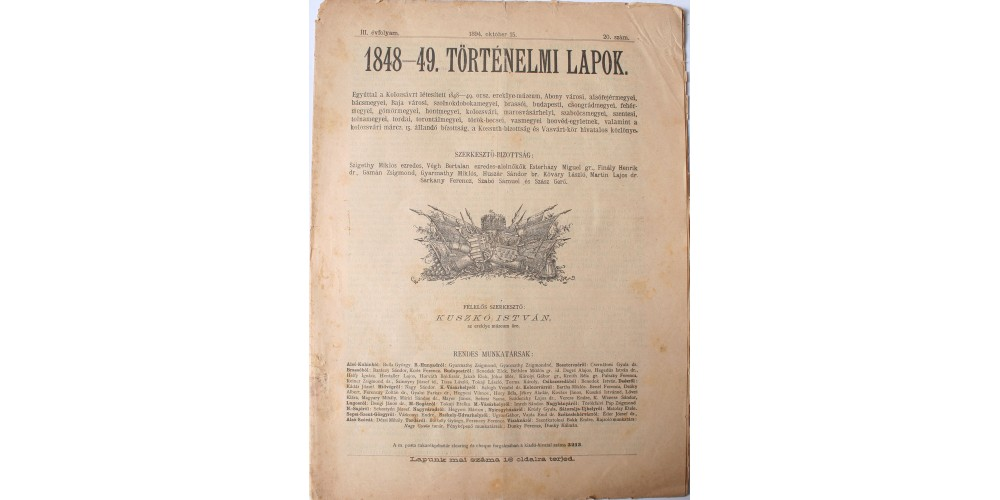 1848-49. Történelmi Lapok 1894. október 15.