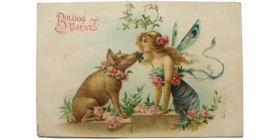 Újévi litho képeslap