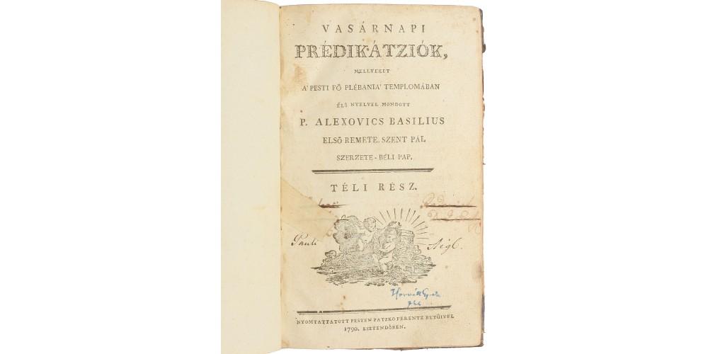 Alexovics Vazul: Vasárnapi prédikációk, Téli rész (Pest 1790)