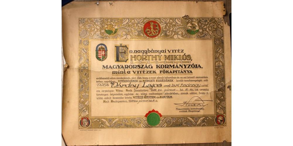 Vitézi Rend adományozó oklevél 1929 R!