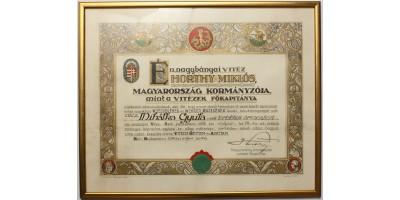 Vitézi Rend adományozó oklevél 1936 R!
