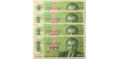 Csehszlovákia 100 korona 1989 3+1db sorszámkövető