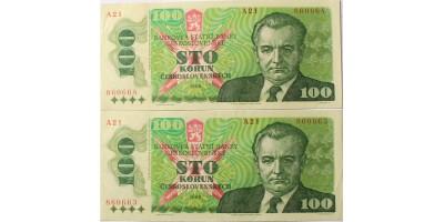 Csehszlovákia 100 korona 1989 2db sorszámkövető