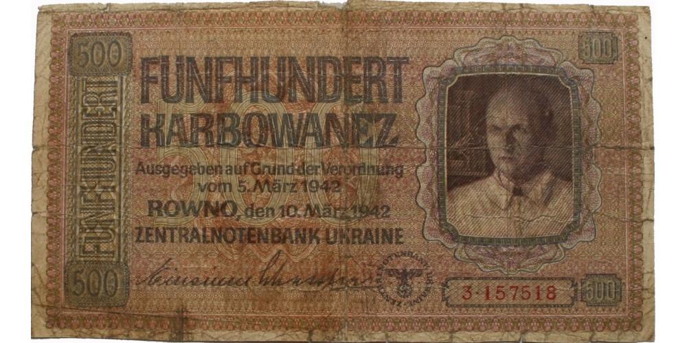 Ukrajna II. vh. német megszállás 500 karbowanez 1942 R!