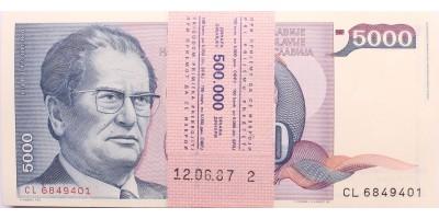 Jugoszlávia banki köteg 100db 5000 dinár 1985 sorszámkövető