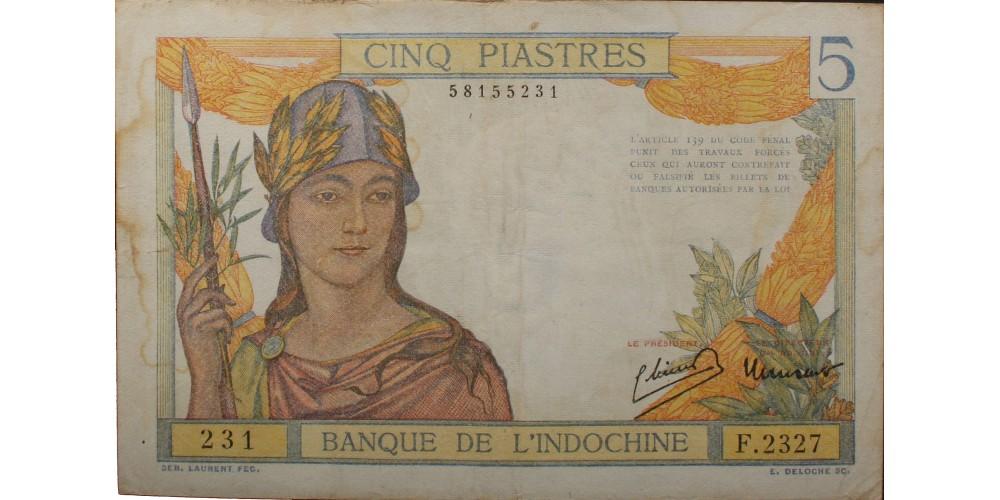 Francia Indokína 5 piaszter 1949