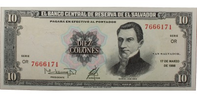El Salvador 10 colones 1988