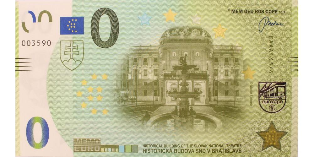 Pozsonyi Nemzeti Színház memo euro - szlovák 0 euro bankjegy