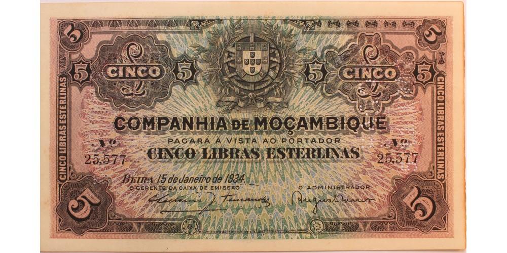 Mozambik 5 libras 1934