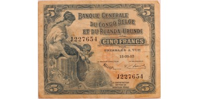 Belgian Kongó és Ruanda-Urundi 5 frank 1953