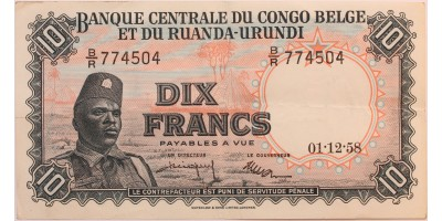 Belgian Kongó és Ruanda-Urundi 10 frank 1958