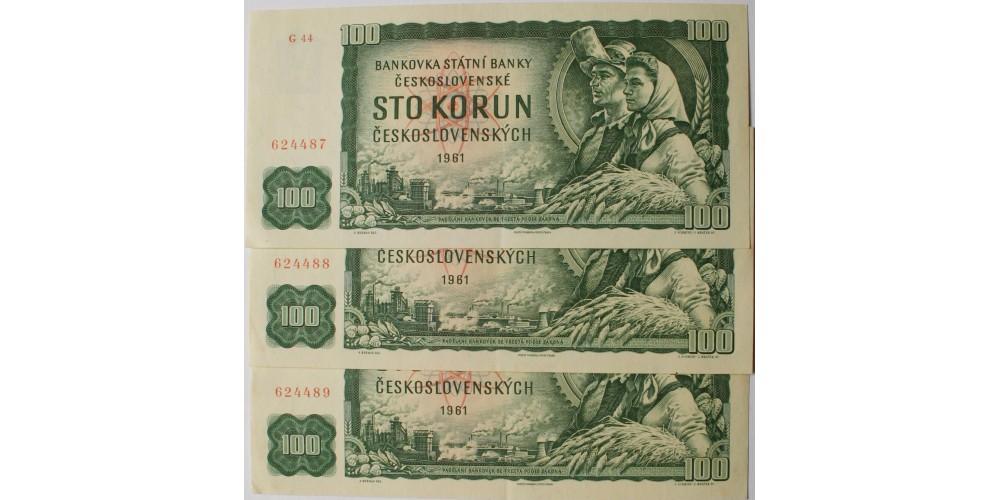 Csehszlovákia 100 korona 1961 3db sorszámkövető