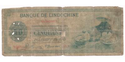 Francia Indokína 50 piaszter 1945