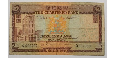 Hong Kong The Chartered Bank 5 dollár ND (1975)