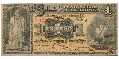 Mexikó Banco Peninsular Mexicano 1 peso 1913