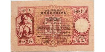 Szlovénia II. vh. német megszállás 50 lira 1944 R!