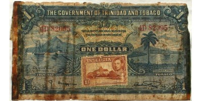 """II. Vh. repülős emlék """"Short Snorter"""" Trinidad és Tobago 1 dollár 1939 St. Lucia bélyeggel R!"""