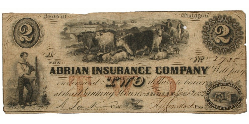 USA Adrian Insurance Company Michigan 2 dollár 1852