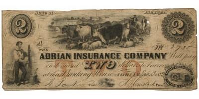 USA Adrian Insurance Company Michigan 2 dollár 1852