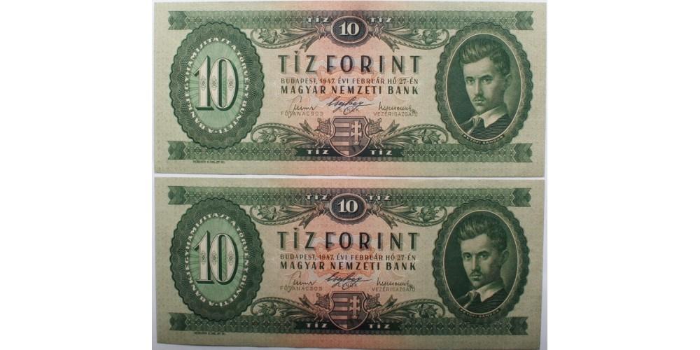 10 forint 1947 2db