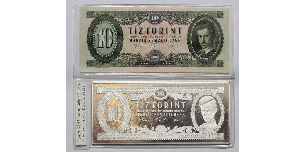 Ezüst bankjegy,10 forint 1975 Ag999  7 uncia