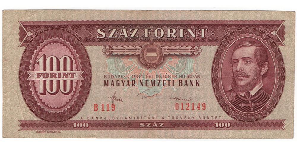 100 Forint 1984 tévnyomat