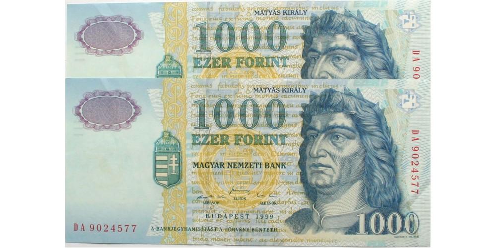 1000 forint 1999 2db DA sorszámkövető
