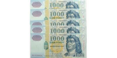 1000 forint 1999 5db DA sorszámkövető