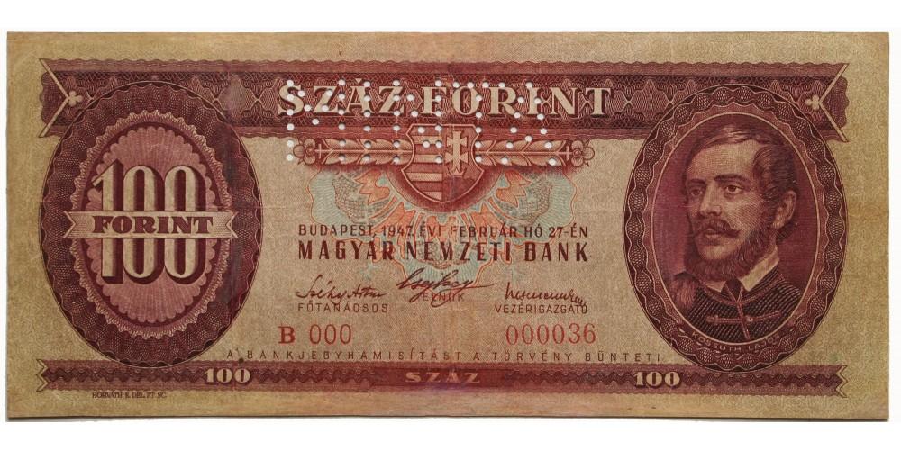 100 forint 1947 0 szériás Minta RR!