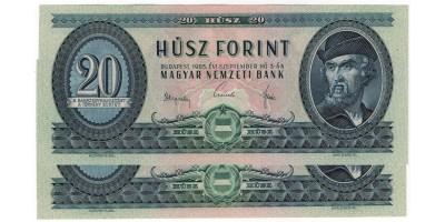 20 forint 1965 2db sorszámkövető