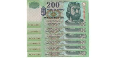 200 Forint 2001 6db sorszámkövető