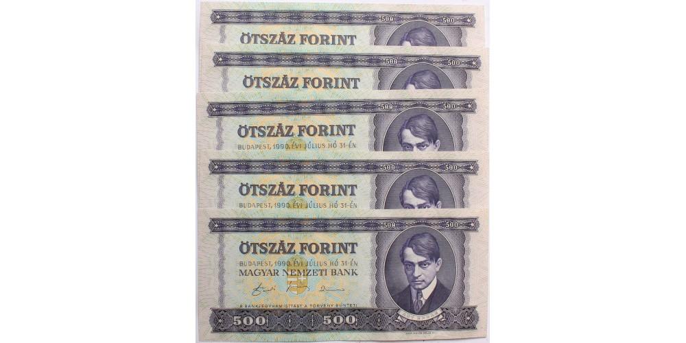 500 forint 1990 5db sorszámkövető