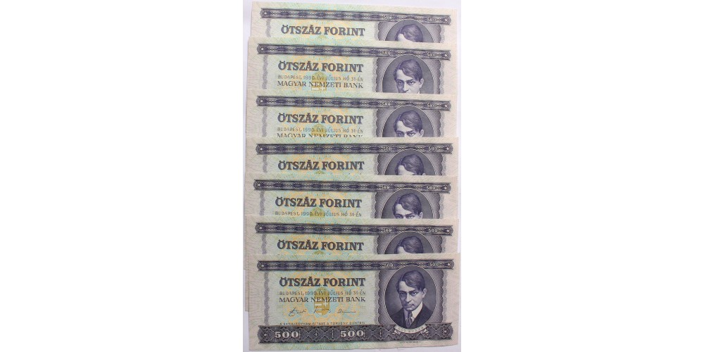 500 forint 1990 7db sorszámkövető