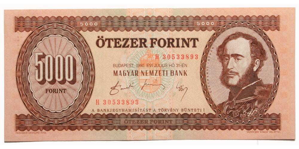 5000 forint 1990 biztonsági szál nélkül RRR!