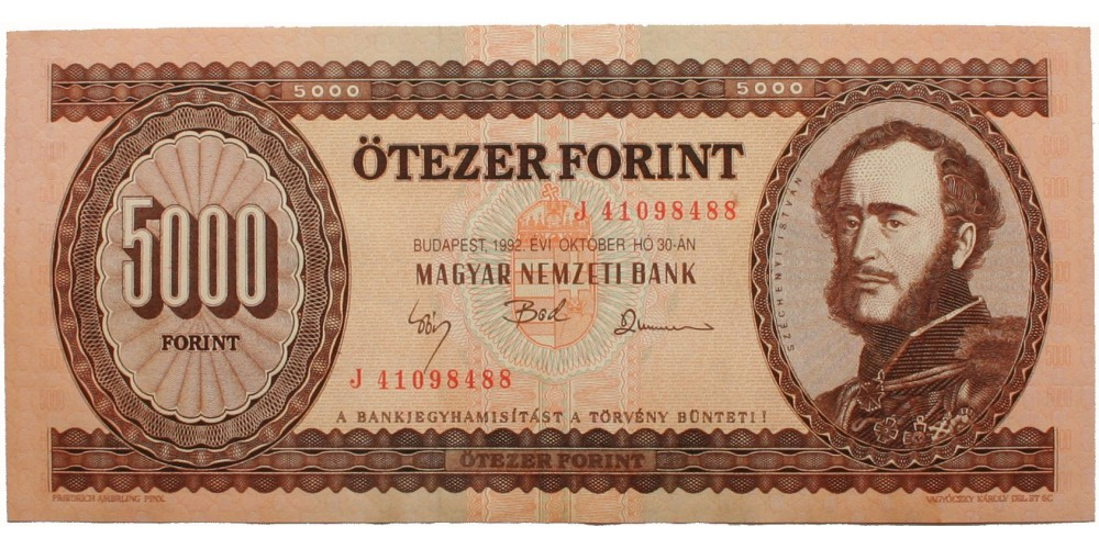 5000 forint 1992 J sorozat