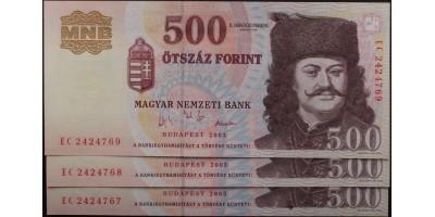 500 Forint 2003 3db Sorszámkövető